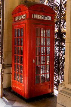 Phone Box no1 - Free. There are two original red phone boxes in the entrance gate of the Royal Academy, London. This is the first production model, the other is the wooden prototype. Click to discover more.