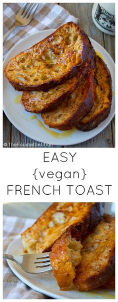 This easy vegan french toast calls for only 5 ingredients! And it's still crispy, sweet and golden-brown. Perfect for Sunday brunch, or my favorite - breakfast for dinner!  | @TheFoodieDietitian