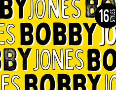 Introducing the loud & proud Bobby Jones Font Collection, created by Tom Chalky. Inside the full product you'll find 16 quirky handcrafted fonts, oozing with personality, ripe and re… Typography Alphabet, Typography Layout, Modern Typography, Vintage Typography, Typography Quotes, Typography Poster, Lettering, Typography Tutorial, Postcard Book