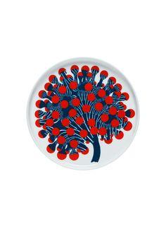 Assiette à dessert Merivuokko Marimekko - Blanc/Bleu/Rouge Motif Floral, Nordic Design, Plates And Bowls, Salad Plates, Organic Shapes, Home Collections, Textile Design, Textile Art, Scandinavian Design