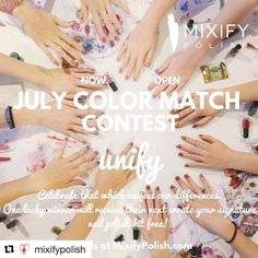 #Repost @mixifypolish  Win a free Mixify Polish create your signature nail polish color kit! July color matching contest is now open.  Let's celebrate all that unifies us including our differences which unify us.  Winning a free kit is easy! Simply create your look based on the current month's theme (announced at the end of the month via social media and our blog) take a pic of your Mixify Polish creation post to Instagram or Facebook and tag using #MixifyPolish. One lucky winner will be…