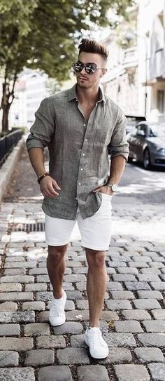summer outfits men 56 The Best Men's Summer Outfits For Every Occasion Street Casual Men, Men Street, Men Casual, Casual Shirt, Smart Casual Man, Casual Shorts Outfit, Casual Outfits, Stylish Summer Outfits, Mens Casual Summer Fashion
