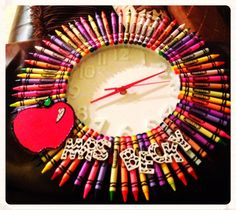 Crayon Clock by PersonalizedTeacher on Etsy, $45.00