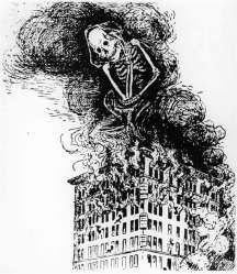 A skeleton sits on the Triangle Shirtwaist Factory building, representing any number of things.
