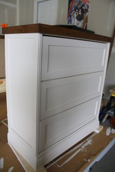 This is a Rast 3 drawer chest from IKEA for $35. Can't believe the transformation. Another Pinner said: {A CHARMING NEST}: {New Bedside Tables...they're a RAST hack}