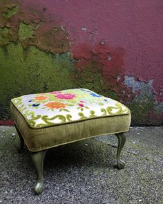 Vintage Velvet Footstool With Metal Queen Anne Legs. Bright Spring Floral…