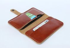 Leather iPhone wallet case Tan Brown Color / 4 by BluePetalz