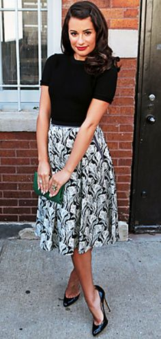 I like that the shirt covers the upper arms so i wouldn't have to wear a cardigan. cute styling idea with a skirt.