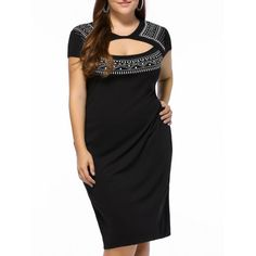 $21.45 Plus Size Short Sleeve Ethnic Print Sheath Cutout Dress For Women