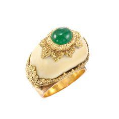 Gold, Bone and Cabochon Emerald Dome Ring, Mario Buccellati