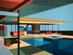 From Etherton Gallery, Andy Burgess, Stahl House VIII Acrylic on canvas, 45 × 60 in Mid Century Art, Mid Century House, Modern Buildings, Modern Architecture, Guache, Pool Houses, Art Houses, Googie, Large Painting