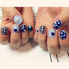 Marimekko nails by @111nail_omotesando inspired by the kaivo and unikko patterns!