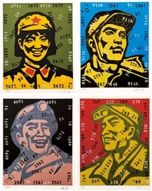 Wang Guangyi - 4 works: Religious Faces, 2002