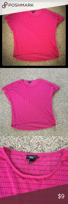 Hot pink high/low Mossimo shirt Cute, hot pink Mossimo hi/lol shirt, size large... has neat detail with small holes and stitching. Mossimo Supply Co Tops Blouses