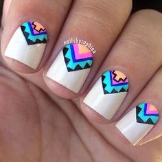 You cannot go wrong with these wild patterns and eye-catching colors. All it takes for a perfect Aztec nails is some geometric inspiration and few bright nail polishes. Nude polish makes the intricate pattern really pop.