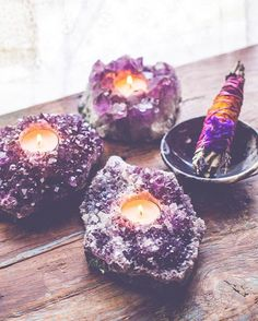 Amethyst Tealight   Crystal magic boho hippie home   Soul Makes