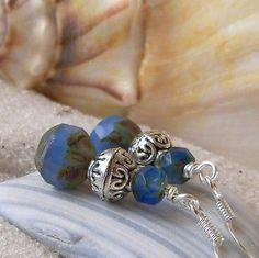 Women's Earrings – Beaded Jewerly – Beaded Earrings – Dangle Glass – Blue Earrings – Cornflower Blue Glass Bead Earrings with Silver Bead