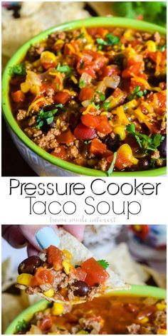 Pressure Cooker Taco Soup | This quick and easy pressure cooker taco soup can be made in your pressure cooker or Instant Pot. Throw in your ingredients close the lid and in 15 minutes you have pressure cooker soup that tastes amazing! Make this easy dinner recipe your next pressure cooker recipe or instant pot recipe. This pressure cooker soup recipe is everything you love about tacos in a delicious broth!