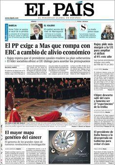 Los Titulares y Portadas de Noticias Destacadas Españolas del 30 de Marzo de 2013 del Diario El País ¿Que le parecio esta Portada de este Diario Español?
