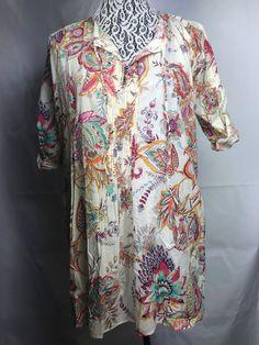 0aeb2c89e07f54 Zara Women Dress size M cotton floral pleated rolling sleeve beige green  red 78 #Zara