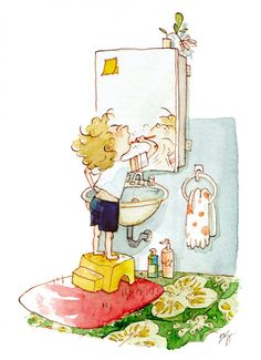 Brushing Teeth by Qin Leng Watercolor Illustration Children, Watercolor Books, Children's Book Illustration, Character Illustration, Watercolor And Ink, Book Illustrations, Magic Cat, Character Design References, Childrens Books
