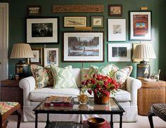 sohva, taulut, lamput, taululamppu
