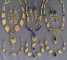 3 Semi-precious Stone Bamboo Necklace Bracelet Earrings Sets 9 Pieces Peruvian