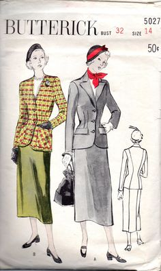 1940s Butterick 5027 Misses Tailored Suit Pattern Slim Skirt and Semi Fitted Jacket womens vintage sewing pattenr by mbchills