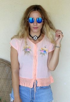 Vintage+70's+Peach+Embroidered+Crochet+Crop+Top