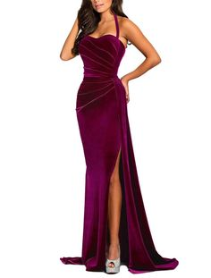 Color: Solid Material: Velvet Pattern Type: Solid Neckline: Sweetheart Style: Elegant Sleeve Length: Sleeveless Clothes Length: Floor Length Decoration: None Fit Type: Slim Fit Occasion: Formal Package Contents: 1 X Dress Evening Gowns With Sleeves, Red Evening Gowns, Beautiful Evening Gowns, Unique Formal Dresses, Special Dresses, Velvet Evening Gown, Casual Dress Outfits, Gowns Of Elegance, Ball Dresses