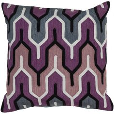 Grape, Slate Blue and Flint Gray Polyester Filled 22 x 22  Pillow