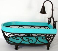 Unique Wood And Wrought Iron Bathtub Shaped Bathroom Organizer Or Caddy #Unbranded