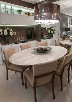 Sala de Jantar Clean (18) Dinner Room, Beautiful Dining Rooms, Kitchen Benches, Dinning Table, Dining Furniture, Decoration, Kitchen Design, Sweet Home, Room Decor