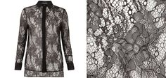 Need a Monday pick me up?  We have just the thing! Our Shield Lace Shirt is the perfect AllSaints Monday cure. With fine lace detailing and a tailored fit, it's a great new silhouette in our Autumn 2012 season. Shield Lace Shirt>> The Shield Lace Shirt in black is a fitted shirt which uses a delicate lace design across the base material. Featuring a contrasting collar, cuffs and placket to accent the garment.