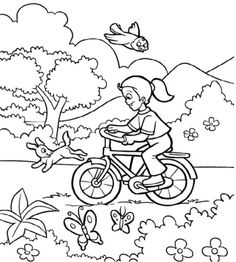 Bike Coloring Page Sci Fi Vehicles Coloring Pages Ab Girl Rides A Bicycle Coloring Page For Kids Spring Coloring Pages Printables Free Wuppsy - Kroblo Moon Coloring Pages, Puppy Coloring Pages, Spring Coloring Pages, Coloring Pages For Boys, Doodle Coloring, Coloring Sheets, Coloring Books, Kids Coloring, Pikachu Coloring Page