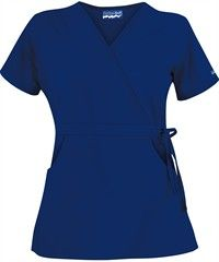 Butter-Soft Scrubs by UA™ Women's Solid Mock Wrap Top with Side Tie Style # Cute Scrubs Uniform, Uniform Advantage, Medical Scrubs, Tie Styles, Scrub Pants, Drawstring Pants, Scrub Tops, Character Outfits, Short Sleeve Dresses