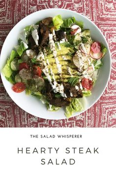 Easy recipe for a delicious and hearty steak salad. So yummy! How To Cook Beef, Steak Salad, Dairy Free Options, Skirt Steak, Shawarma, Proper Nutrition, Original Recipe, Other Recipes, Lunch Ideas