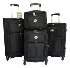 4pc Luggage Set Travel Bag Rolling 4wheel Carryon Expandable Black ** Find out more about the great product at the image link.