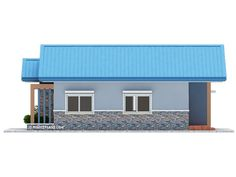 Another concept of three bedroom Bungalow House plan with total floor area of 82 square meters is conceptualized with blue color combinations. Roof is pale blue long span ribbed type pre-painted ga… Bungalow Floor Plans, Modern House Floor Plans, New House Plans, Dream House Plans, Small House Plans, Modern Bungalow House Design, House Roof Design, Minimal House Design, Small House Design