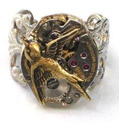 cool Steampunk HUNGER GAMES Bird Ring Watch Movements parts Brass