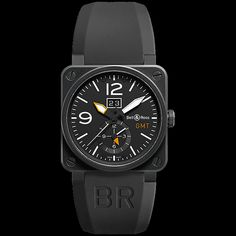 Bell & Ross Aviation BR 03-51 GMT watch. Features include: [Case] 42mm polished-satin finish titanium, [Water Resistance] 100m, [Crystal] an anti-reflective sapphire crystal , [Dial] Black with carbon fiber, [Movement] Automatic, [Strap / Bracelet] Rubber strap with a stainless steel buckle