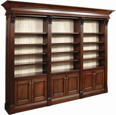 amish serenity triple library bookcase with beaded back VAOMYZR - Home Decor Ideas Large Bookcase, Bookcase Wall, Built In Bookcase, Bookcases, Wall Shelves, Home Library Design, Home Office Design, Design Desk, Glass Shelves In Bathroom