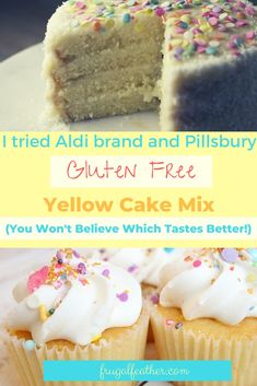 Looking for a cheap gluten free cake option? I compared Aldi and Pillsbury to see who has the better gluten free yellow cake mix! Gluten Free Snacks, Gluten Free Recipes, Gluten Free Yellow Cake Mix, Pillsbury Gluten Free, Cheap Dessert Recipes, Dessert From Scratch, Maila, Box Cake Mix, Yellow Cake Mixes
