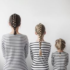All That Is She blog || stripes mother and daughter daughters braids minimalist family