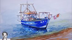 How to Draw a Boat on seaside Drawing | Boat Drawing