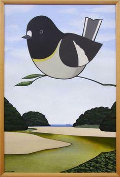 Don Binney - Petroica, Mill Creek 2001 Landscape Art, Landscape Paintings, New Zealand Landscape, New Zealand Art, Nz Art, Maori Art, Art Lessons For Kids, Art Courses, Bird Art