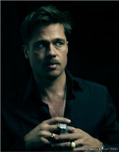 Brad Pitt | by Nadav Kander..... I love him with this look...ALDO RAYNE.. His style here reminds me of my handsome DAD in the 80's The Dark Hair, Light eyes..The rings, THE STACHE!