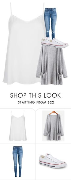 """Untitled #5784"" by laurenatria11 ❤ liked on Polyvore featuring Topshop, H&M and Converse"