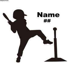 Personalized Name and Number TeeBall Decal by DecalSource
