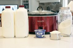 Crockpot Yogurt: Pour 1 gal whole milk in crockpot. Ad 2-3 cups powdered milk. Heat on low to 180 degrees
